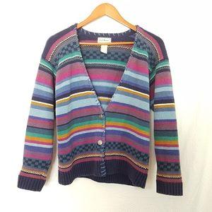 Vintage 80s Knit Cardigan Warm Cozy Colorful
